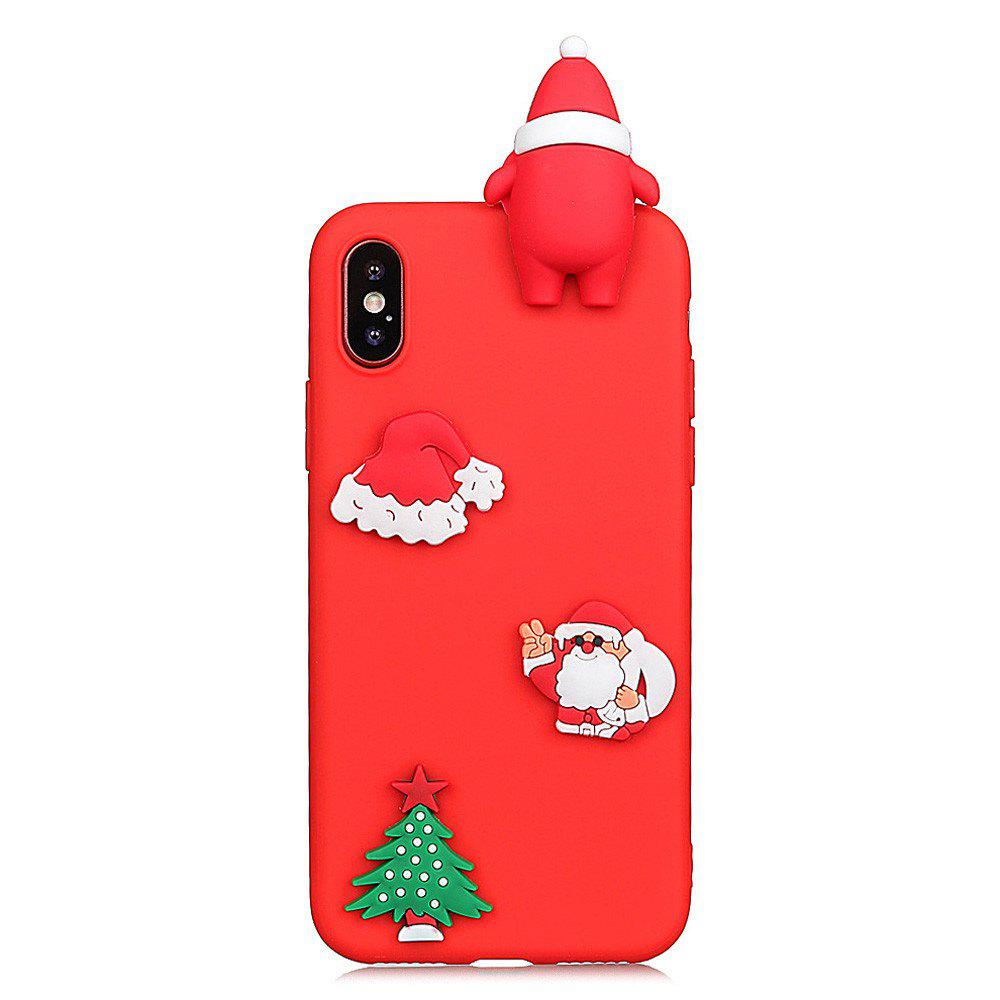 for iPhone X Case  Cute Stylish Stereoscopic Toys TPU Protective Shock Absorption Pure Cover Bumper Anti-Scratch Slim Smooth Shell Skin - RED