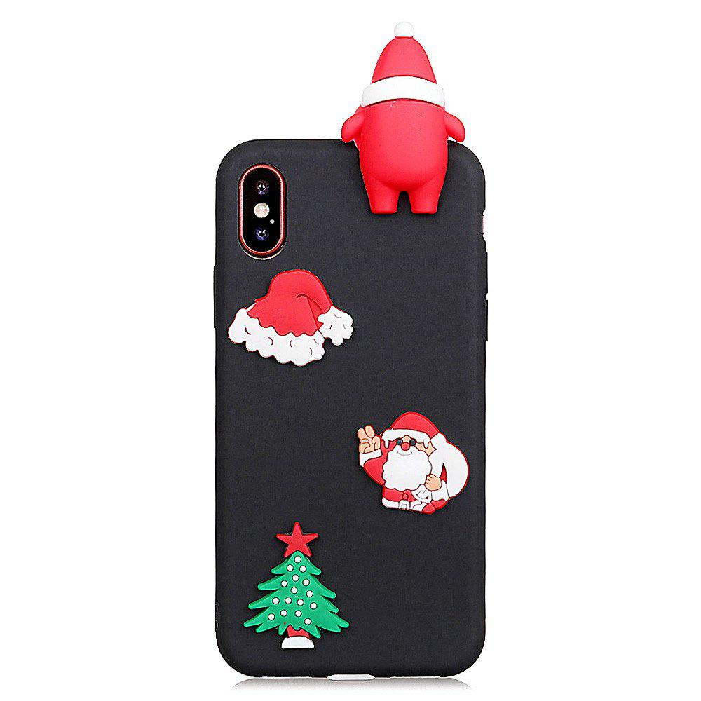 for iPhone X Case  Cute Stylish Stereoscopic Toys TPU Protective Shock Absorption Pure Cover Bumper Anti-Scratch Slim Smooth Shell Skin - BLACK