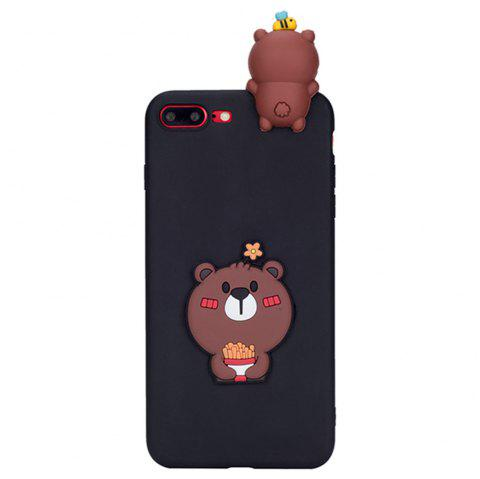 2016 CaserBay 3D Cute Brown Bear Cartoon Kawaii Ultra Thick Soft Silicone Rubber Case Cover Bear for iPhone 7 Plus - COFFEE