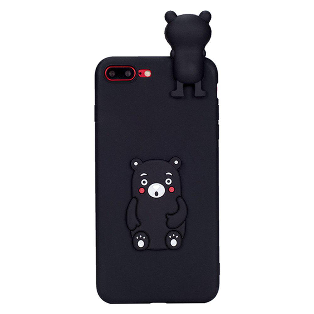 2016 CaserBay 3D Cute Brown Bear Cartoon Kawaii Ultra Thick Soft Silicone Rubber Case Cover Bear for iPhone 7 Plus - BLACK