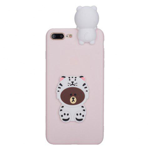 3D Cute Cartoon Kawaii Ultra Thick Soft Silicone Rubber Bear Case Cover for iPhone 7 Plus - PAPAYA