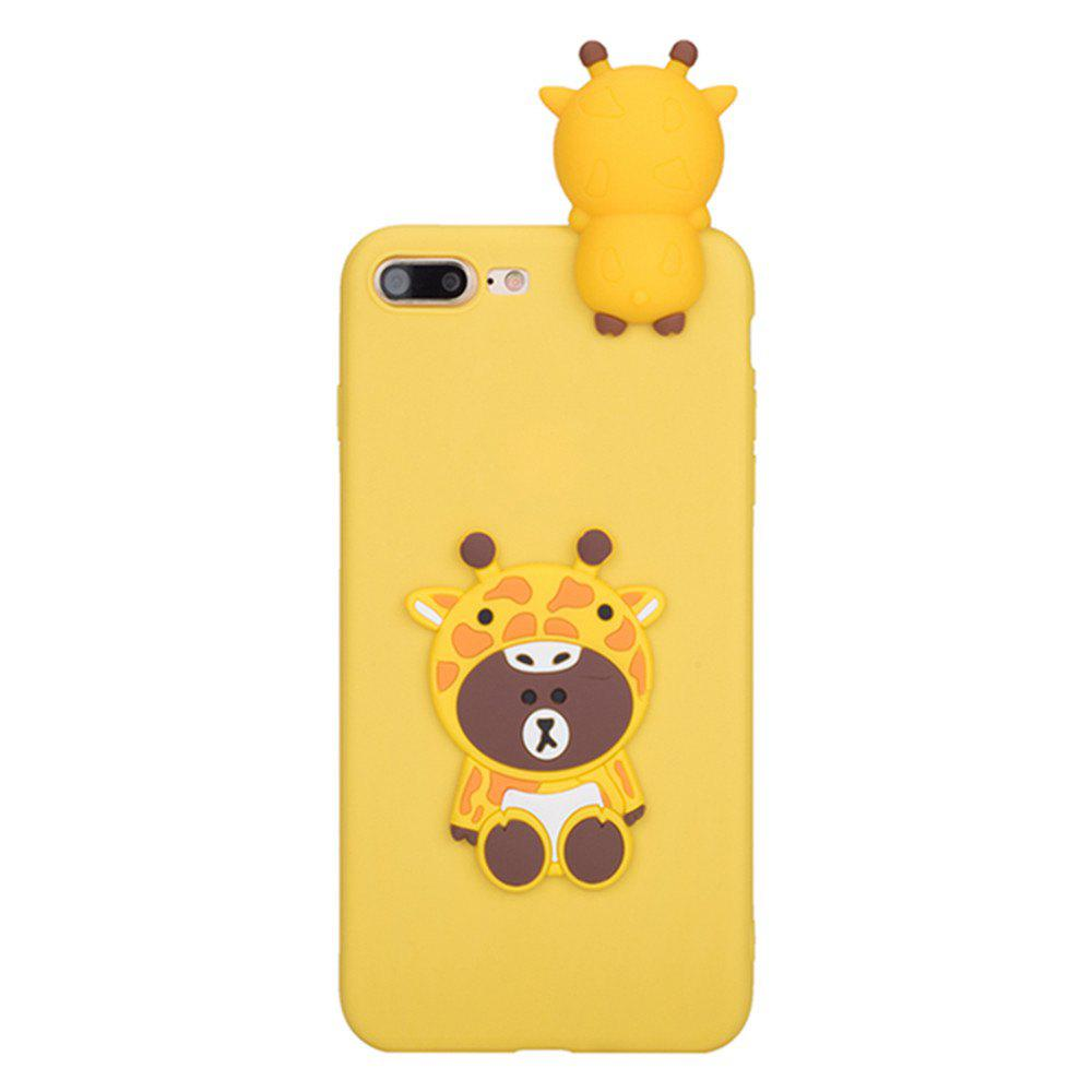 3D Cute Cartoon Kawaii Ultra Thick Soft Silicone Rubber Bear Case Cover for iPhone 7 Plus - YELLOW