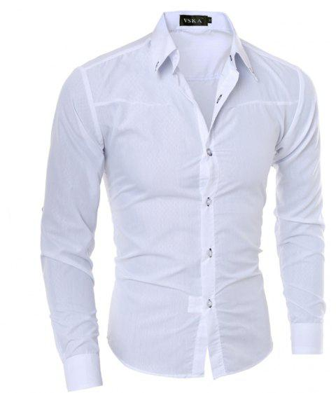 Brand New Autumn and Winter Men Shirt Social Masculina Casual Slim Fit  Shirts - WHITE 4XL