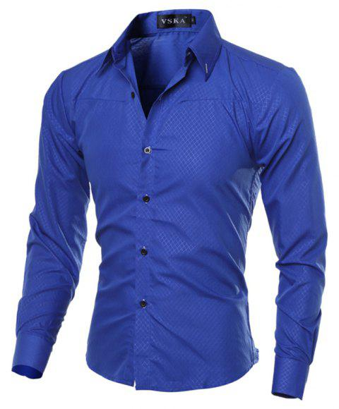 Brand New Autumn and Winter Men Shirt Social Masculina Casual Slim Fit  Shirts - BLUE M