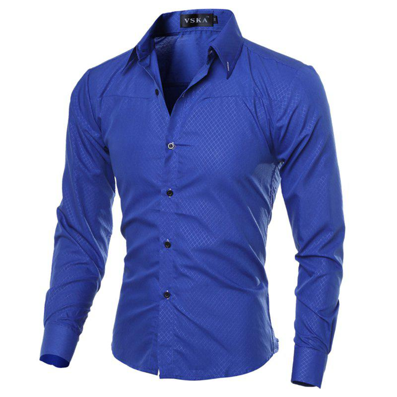 Brand New Autumn and Winter Men Shirt Social Masculina Casual Slim Fit  Shirts - BLUE 3XL