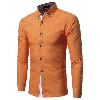 Man Shirts New 2017 Fashion Male  Slim Fit Men's Shirt Long Sleeve Casual-Shirt Men Clothes - ORANGE XL