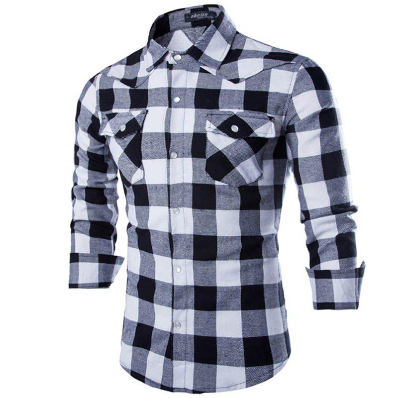 New Geek Men's Shirt Pure Cotton Grid Casual Slim Long Sleeve Man Plaid Shirt - BLACK XXL