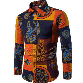 The New Men'S Long Sleeves Printed Shirts Floral Shirts Beach Shirts Night Clubs Shirts