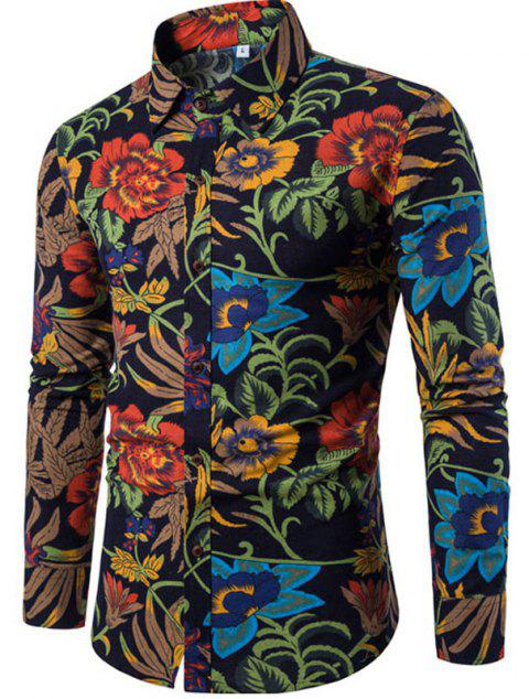 2017 The New Men's Long Sleeves Printed Floral Shirts - BLACK L