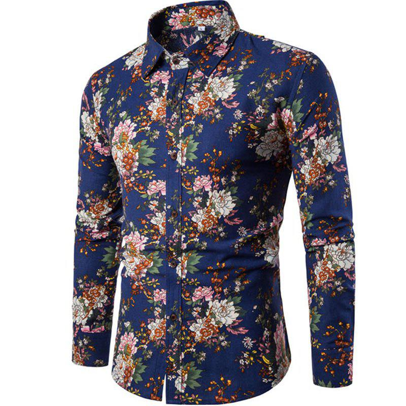 2017 Autumn and Winter New Men Long Sleeves Printed  Floral  Night Clubs Shirts mulinsen latest lifestyle 2017 autumn winter men