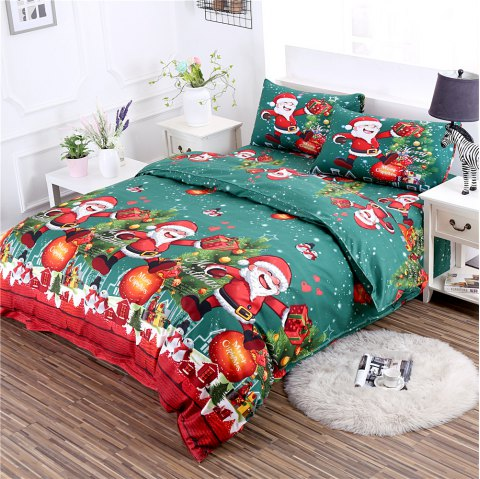 3D Printed Christmas Santa Bedding Set Polyester Duvet Cover Christmas Bedroom Decorations - GREEN QUEEN