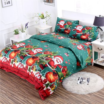 3D Printed Christmas Santa Bedding Set Polyester Duvet Cover Christmas Bedroom Decorations