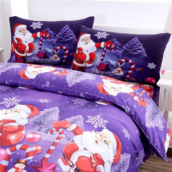 Merry Christmas Santa Claus Bedding Sets - PURPLE PURPLE