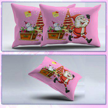 Christmas Bedding Set Polyester Santa 3D Printed Christmas Bedding Decorations - PINK FULL