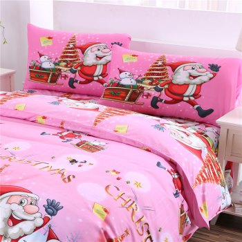 Christmas Bedding Set Polyester Santa 3D Printed Christmas Bedding Decorations - PINK PINK