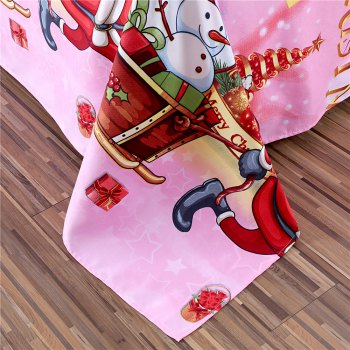 Christmas Bedding Set Polyester Santa 3D Printed Christmas Bedding Decorations - PINK KING