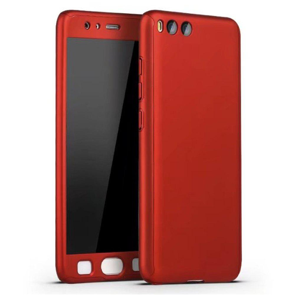 Full PC Back Cover Funda Complete All Around with Tempered Glass Case for Xiaomi 6 - RED