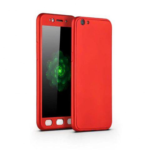 Full PC Back Cover Funda Complete All Around with Tempered Glass Case for Oppo R9s - RED