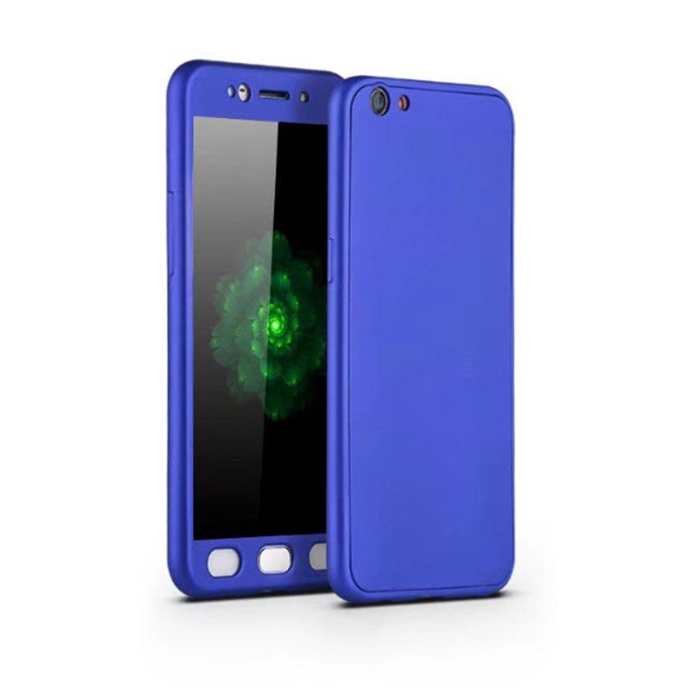 Full PC Back Cover Funda Complete All Around with Tempered Glass Case for Oppo R9s - BLUE