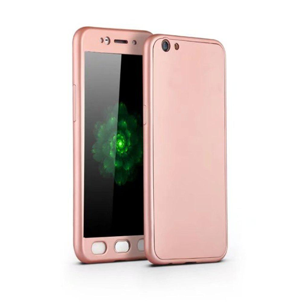 Full PC Back Cover Funda Complete All Around with Tempered Glass Case for Oppo R9s - ROSE GOLD