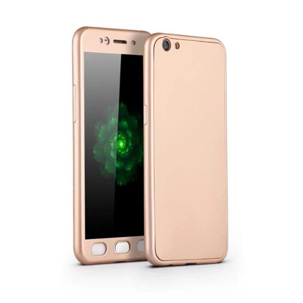 Full PC Back Cover Funda Complete All Around with Tempered Glass Case for Oppo R9s - GOLDEN