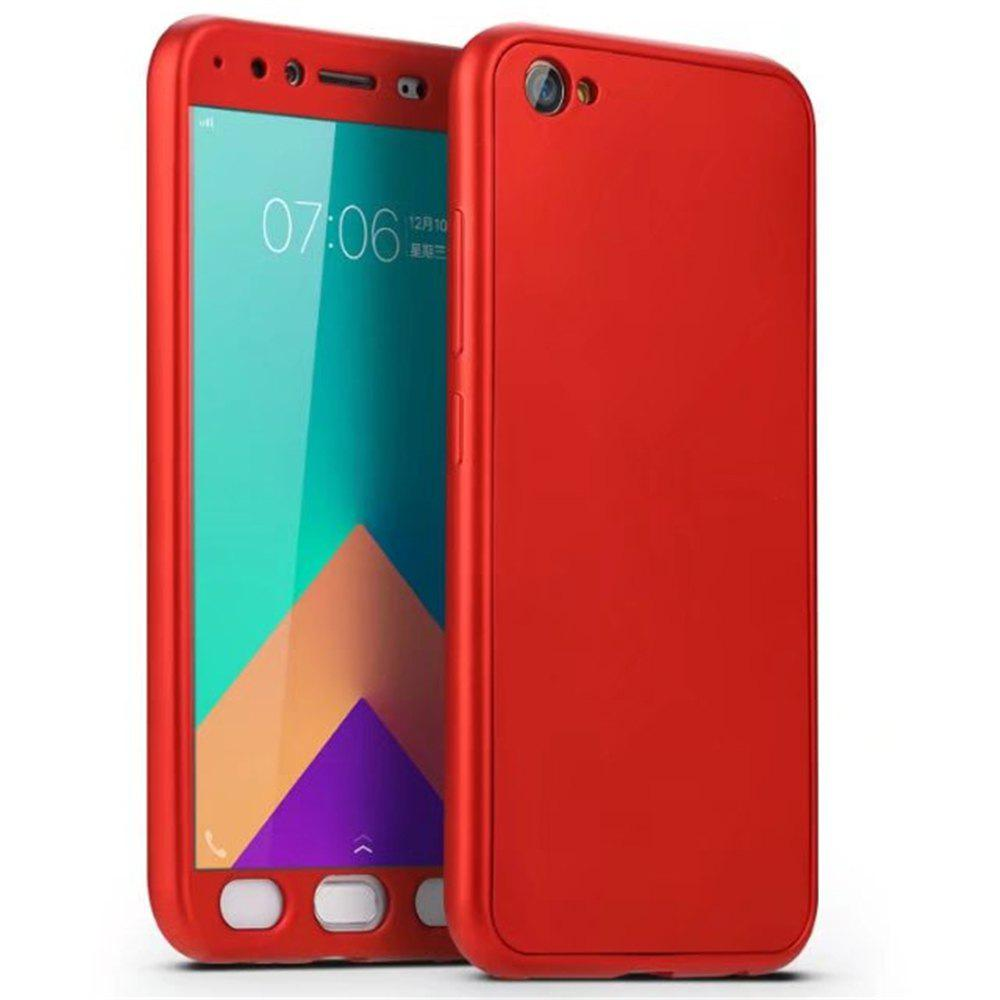 Full PC Back Cover Funda Complete All Around with Tempered Glass Case for Vivo X9 - RED