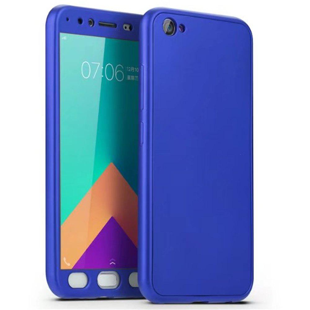Full PC Back Cover Funda Complete All Around with Tempered Glass Case for Vivo X9 - BLUE