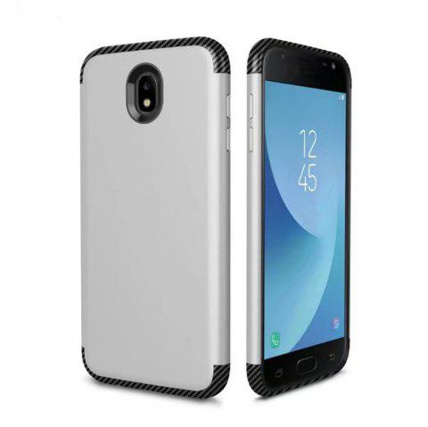 Luxury Shockproof Back Cover Carbon Fiber TPU + PC Protective Case for Samsung J 730 - SILVER