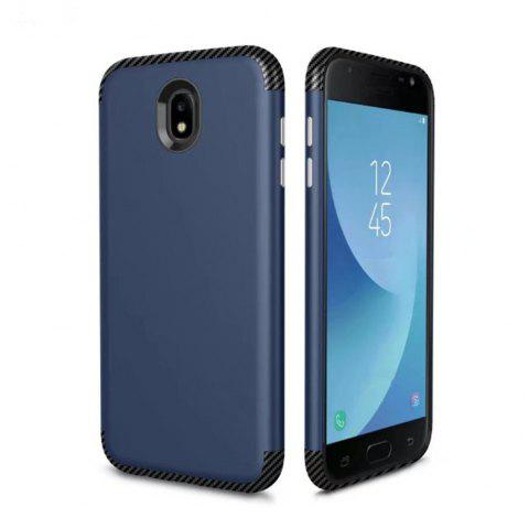 Luxury Shockproof Back Cover Carbon Fiber TPU + PC Protective Case for Samsung J 730 - BLUE