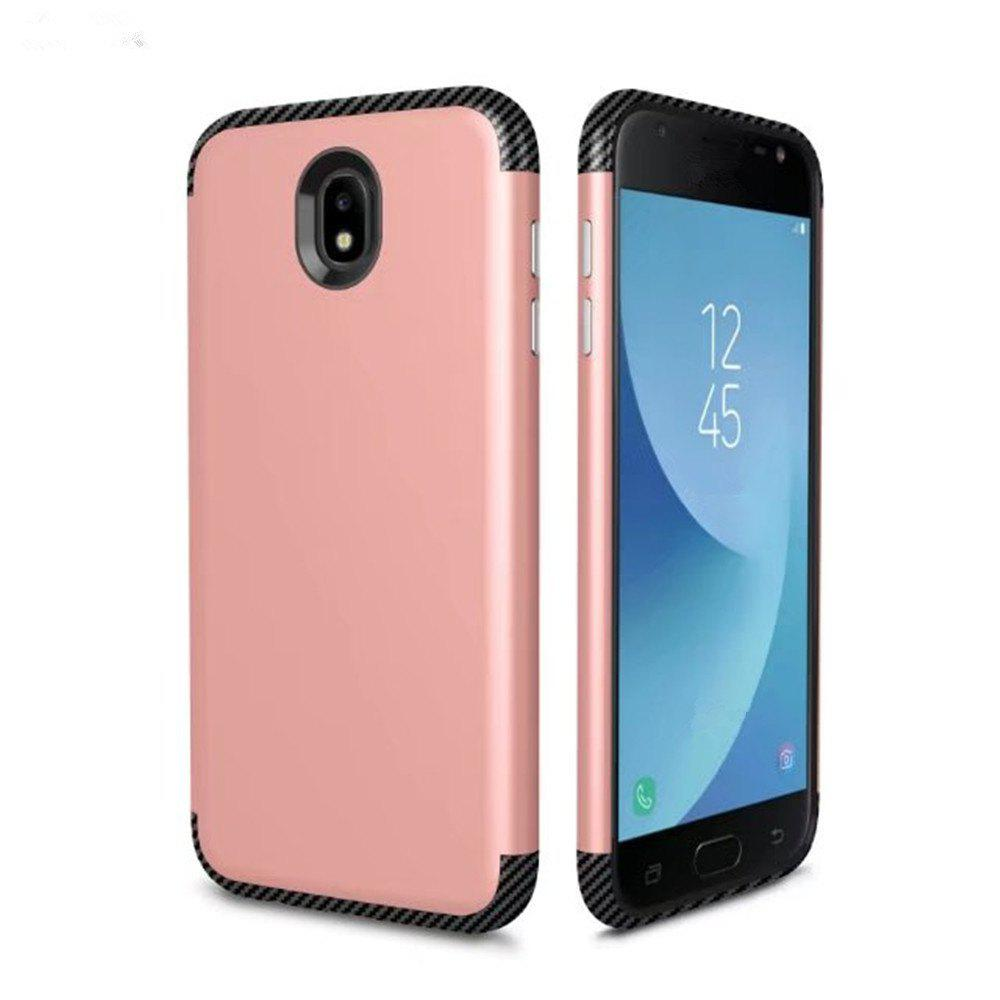 Luxury Shockproof Back Cover Carbon Fiber TPU + PC Protective Case for Samsung J 730 - ROSE GOLD