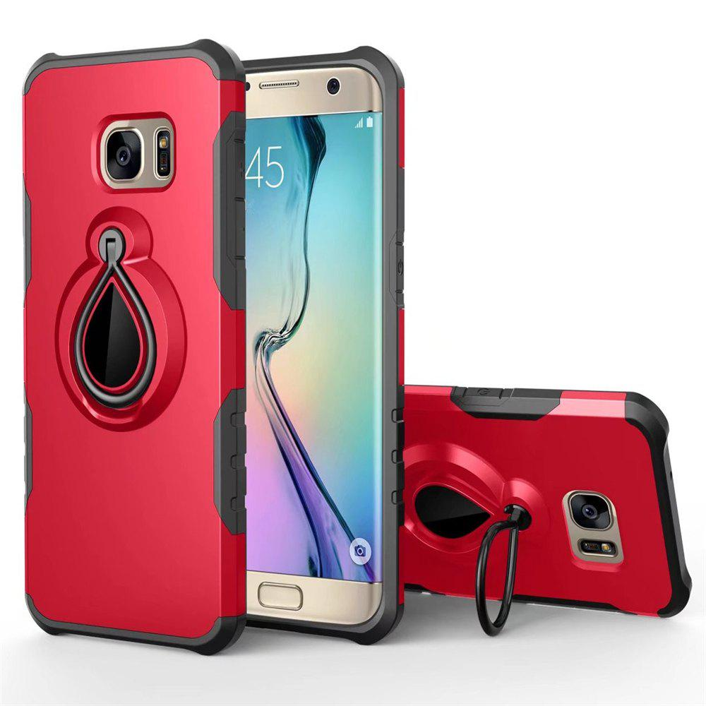 Raindrop Shape Hybrid Slim TPU Bumper Protective with 360 Degree Rotating Metal Ring Holder Kickstand Case for Samsung Galaxy S7 Edge - RED