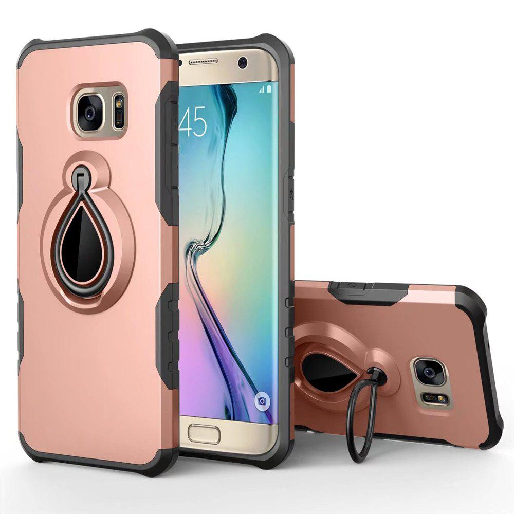 Raindrop Shape Hybrid Slim TPU Bumper Protective with 360 Degree Rotating Metal Ring Holder Kickstand Case for Samsung Galaxy S7 - ROSE GOLD
