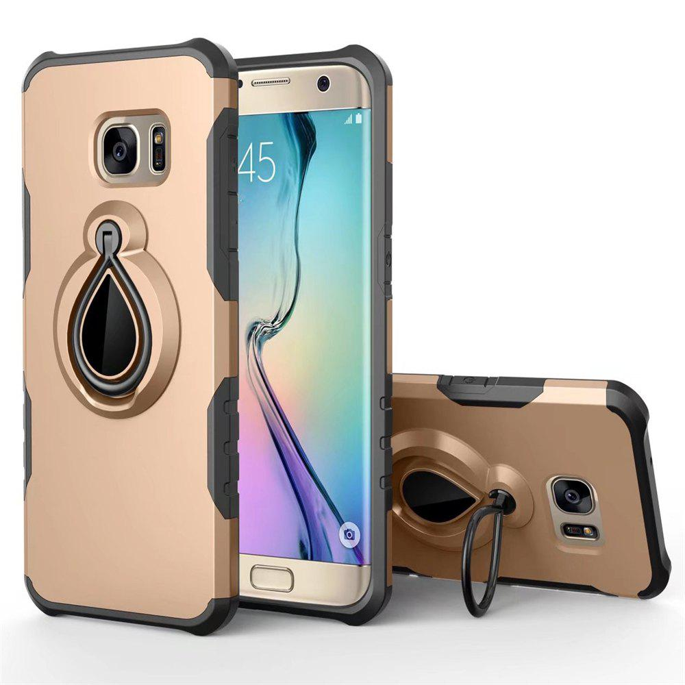 Raindrop Shape Hybrid Slim TPU Bumper Protective with 360 Degree Rotating Metal Ring Holder Kickstand Case for Samsung Galaxy S7 - GOLDEN