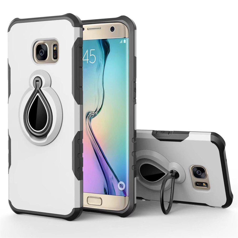 Raindrop Shape Hybrid Slim TPU Bumper Protective with 360 Degree Rotating Metal Ring Holder Kickstand Case for Samsung Galaxy S7 - WHITE