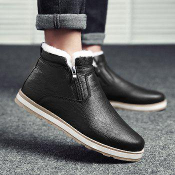 Autumn and Winter Plus Velvet Casual Breathable Non-Slip Men'S Shoes - BLACK 39