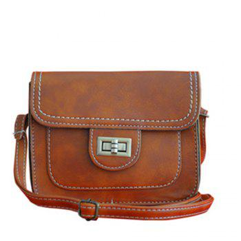 Women's Crossbody Retro Solid Color All Match Dainty Chain Bag - BROWN BROWN