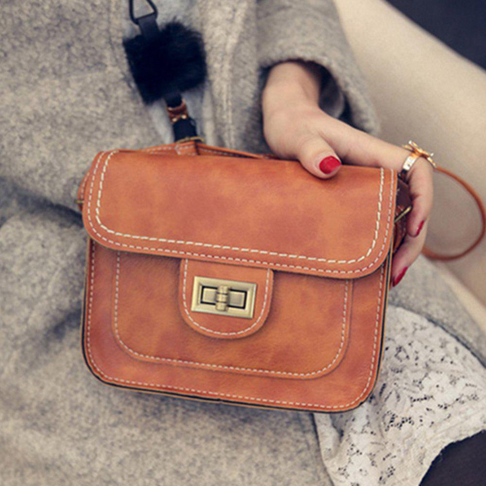 Women's Crossbody Retro Solid Color All Match Dainty Chain Bag - BROWN
