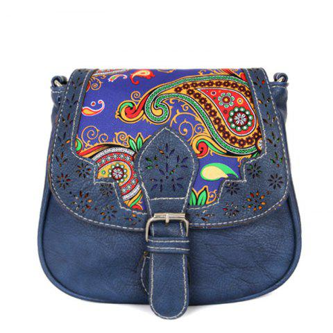 Women's Crossbody  Vintage Mori Girl Style Chromatic Leopard Bag - DEEP BLUE