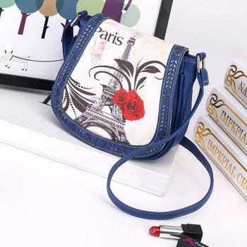 Women's Crossbody Vintage Casual Colorblock Hollow Out Bag - BLUE