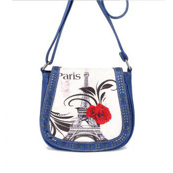 Women's Crossbody Vintage Casual Colorblock Hollow Out Bag - BLUE BLUE