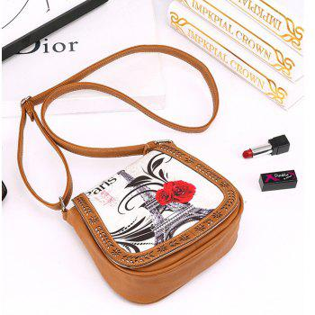 Women's Crossbody Vintage Casual Colorblock Hollow Out Bag - BROWN