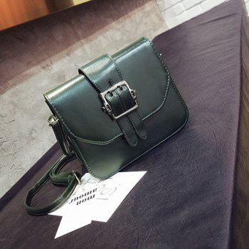 Women's Shoulder Buckle Pattern Roomy Women's Bag - DARK GREEN
