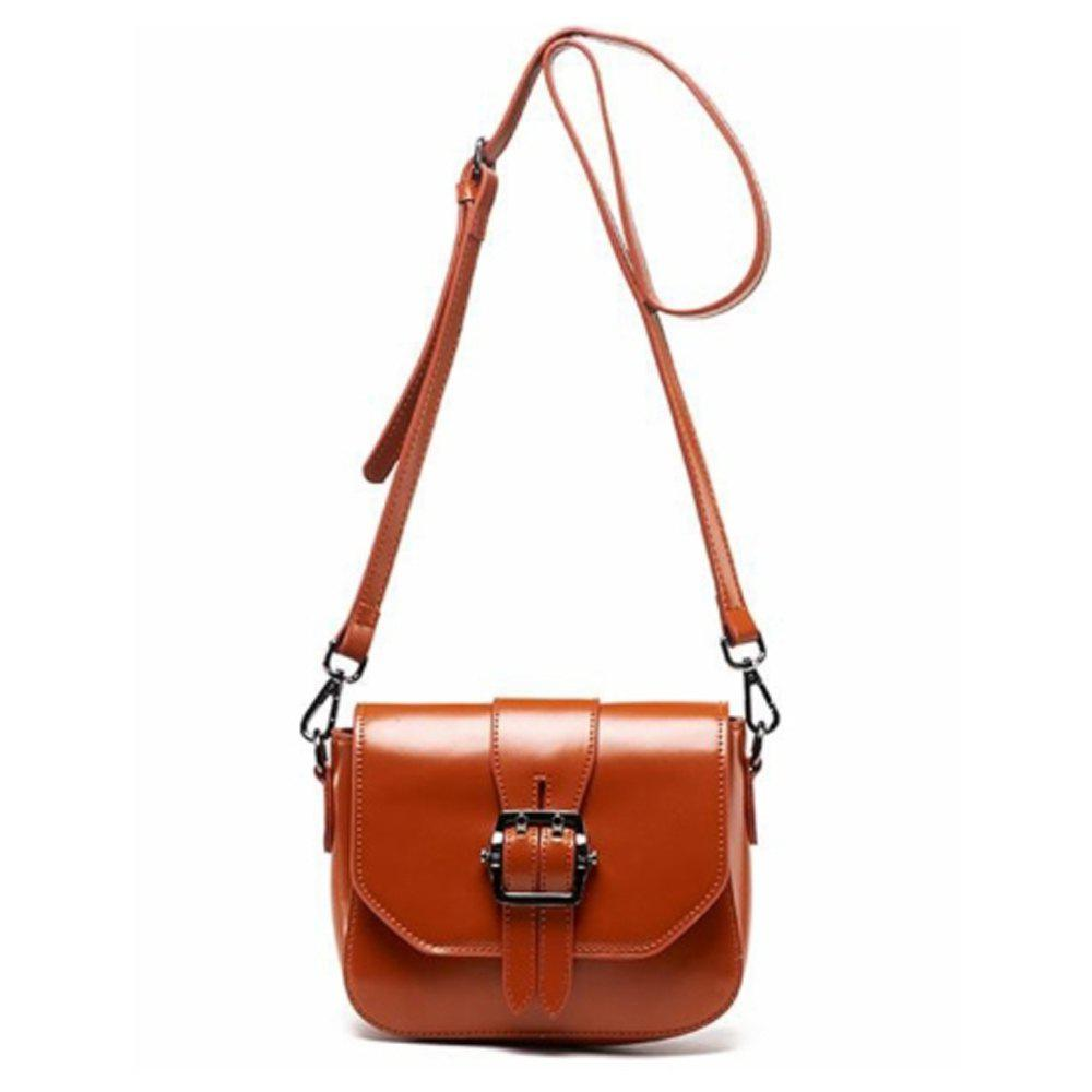 Women's Shoulder Buckle Pattern Roomy Women's Bag - BROWN