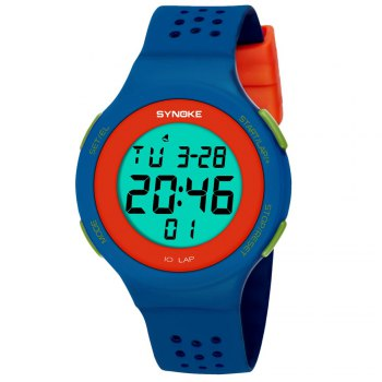 SYNOKE 67866 Slim Trendy Waterproof Unisex Electronic Watch - BLUE BLUE