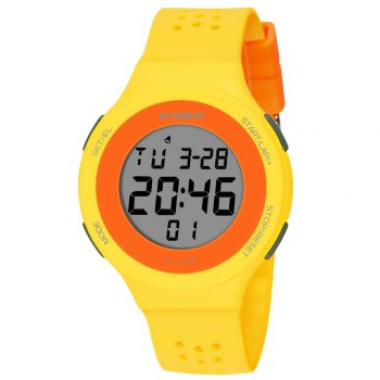 SYNOKE 67866 Slim Trendy Waterproof Unisex Electronic Watch - YELLOW