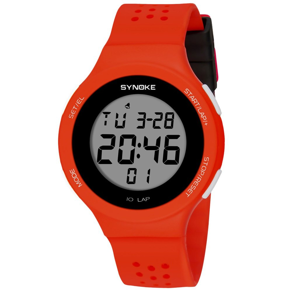 SYNOKE 67866 Slim Trendy Waterproof Unisex Electronic Watch - RED