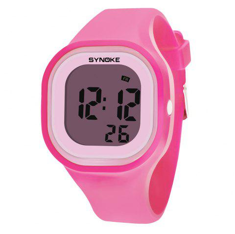 SYNOKE 66896 Waterproof Silicone Band Couple Electronic Watch - PINK