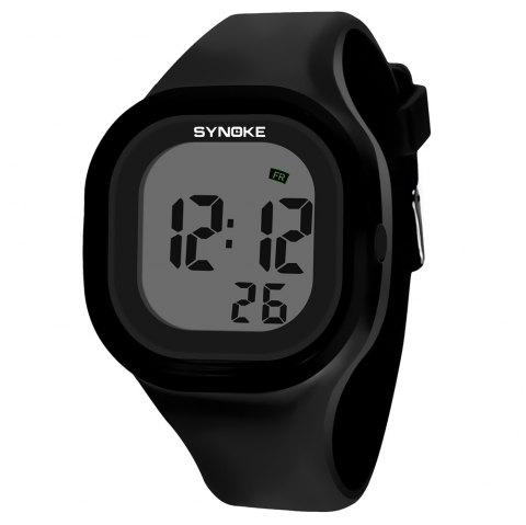 SYNOKE 66896 Waterproof Silicone Band Couple Electronic Watch - BLACK