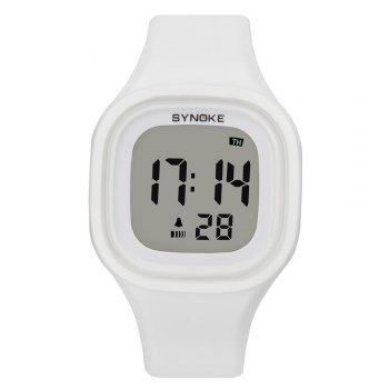 SYNOKE 66896 Waterproof Silicone Band Couple Electronic Watch - WHITE WHITE