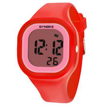 SYNOKE 66896 Waterproof Silicone Band Couple Electronic Watch - RED RED
